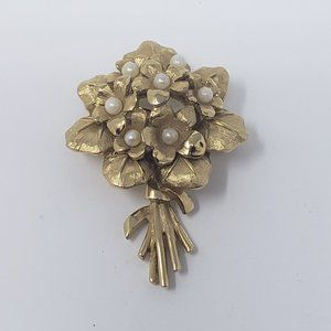 Marcel Boucher Violets Brooch Gold Tone Faux Pearl